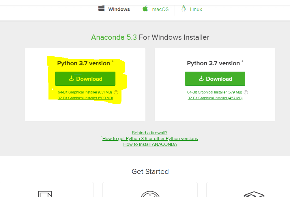 Download Anaconda für Python 3.7